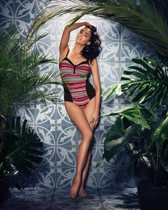 Make a statement with the Paphos swimwear collection, offering a stylish geometric print on a bold black base.