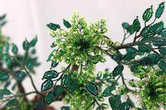Купить дерево из бисера бонсай Тропическая рапсодия - тёмно-зелёный, бонсай из бисера, дерево