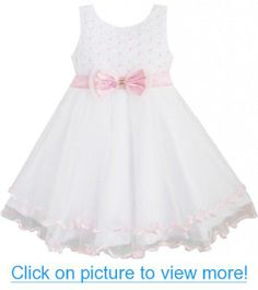 Sunny Fashion Girls Pearl Flower Trimmed Dress #Sunny #Fashion #Girls #Pearl #Flower #Trimmed #Dress