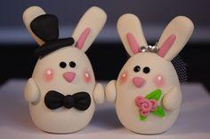 Custom Clay Bunny Wedding Cake Topper. $55.00, via Etsy.