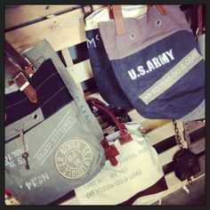 Military Style Postal Bags Reclaimed Canvas and Leather Handbags Bag Bags Tote…