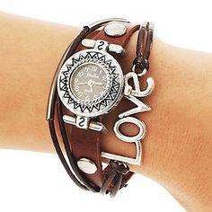 Frauen Jahrgang runden Zifferblatt Liebes-Muster PU-Band Quarz Analog Armband Uhr – EUR € 10.11