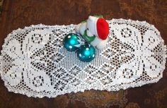 Butterfly Doily Hand crocheted Handmade small runner centerpiece doily snowy white 1960s unique
