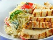 Chicken Orzo dish with basil and tomatoes... one of our go to favorites