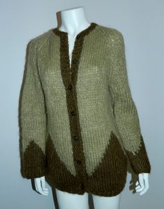 hand knit Italian mohair cardigan sweater 1960s green OS cozy chic – Retro Trend Vintage