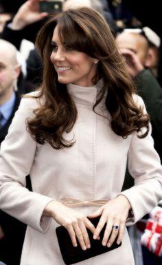 Kate Middleton in Cambridge wearing a MaxMara coat.