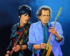 Ronnie Wood and Keith Richards - realistic acrylic painting by the Dutch fine artist Paul Meijering - the Original painting is 100 x 120 cm and for sale