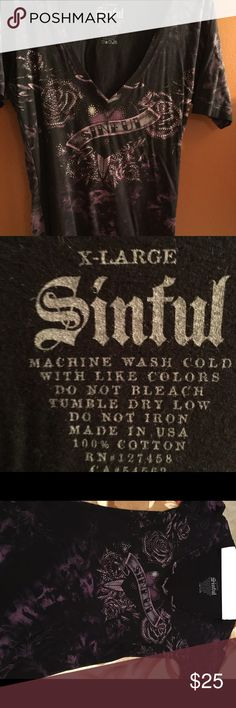 Sinful XL, T-Shirt Great condition, size XL, purple and black Sinful tshirt Sinful Tops Tees - Short Sleeve