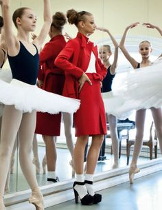 """Lady in Red"": Anna Selezneva with Ballet Students by Patrick Demarchelier for Vogue Russia"