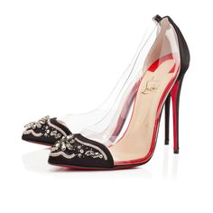 """For those of you who missed our highly coveted """"Un Bout,"""" think of """"Bollywood Boulevard"""" as her elegant little sister. The modern version of the iconic """"glass slipper,"""" this pointed toe pump features PVC siding and a beautifully embellished satin toe. Slip her on and she'll have you dancing on air all evening long."""