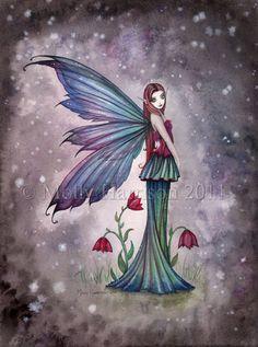 Fairy Fine Art Fantasy Print by Molly Harrison 12 x 16  'Flowers in Winter'. $30.00, via Etsy.