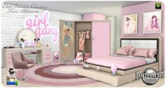 Best Sims 4 Collection: Emi Vanity Cocner Bedroom by Jomsims Creations Pink Furniture, Sims 4 Cc Furniture, Furniture Vanity, Pink Bedroom Set, Kids Bedroom Sets, Toddler Princess Room, Casas The Sims Freeplay, Muebles Sims 4 Cc, Sims 4 Collections