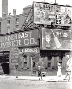 Northwest corner of Twelfth and Market Streets. Prendergast Lumber Company is pictured at 1201 Market Street. Photograph, ca. 1895–1905.
