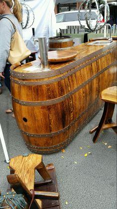 Whiskey Barrel Bar, Whiskey Barrel Furniture, Wine Barrels, Barrel Table, Barrel Sink, Barris, Barrel Projects, Basement Bar Designs, Tapas Bar