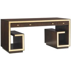 Functional as it is glamorous, the writing desk features sophisticated gold leaf accents and clean contemporary lines. It has three full extension drawers, including a pencil tray in the right drawer