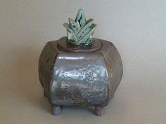 Six sided slab-built metallic pot with floral motif lid by Rachel Minor Clay Studio, Floral Motif, Metallic, Vase, Ceramics, Artwork, Design, Home Decor, Ceramica