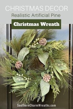 Decorate your front door or above your fireplace with a beautiful evergreen wreath. Premium artificial pine, along with other greenery, creates a simple, yet elegant look for your Christmas decor. If your style is more of a farmhouse Christmas, this is your wreath! Also, leave this wreath up through the winter months for your winter decor!