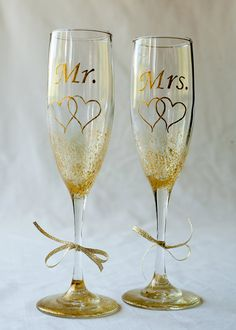 Wedding Flutes Mr. Mrs. Bride Groom two by MaineWeddingArtist