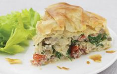Filo Pie with Swiss Chard, Ricotta Cheese, and Tomatoes