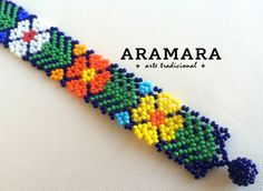 Mexican Huichol Beaded Flower Bracelet PF-0001 от Aramara