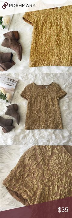 J. CREW gold blouse Pair this beautiful gold floral top w dark denim and booties for a perfectly polished weekend look. Zippered back. J. Crew Tops