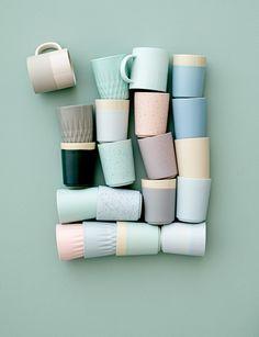 Ceramic cups in pastel tones <3 Bloomingville design