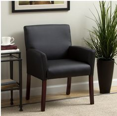 Soft and durable this black guest arm chair from Boss Caressoft will provide long-lasting comfort in your home or office. Molded polyurethane armrests offer support while rich mahogany wood finish legs give this chair a luxurious look. - March 23 2019 at Corporate Office Decor, Home Office Decor, Home Decor, Office Ideas, Desk Ideas, Room Ideas, Foyer Ideas, Office Inspo, Office Designs