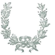 Vintage Clip Art French Wreath Engraving