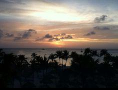 Palm Beach, Aruba sunset off the balcony of the Marriott Surf Club