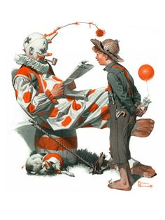"""""""Circus"""" or """"Meeting the Clown"""", May 18,1918  Norman Rockwell"""