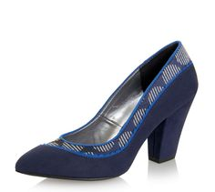 Ruby Shoo Elly Blue Block Heel Navy Court Shoes