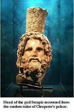 The head of god Serapis recovered from the sunken ruins of Cleopatra's palace complex