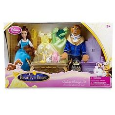NIB- Disney 30-Pc Deluxe Beauty & the Beast Dining Playset with 2 Dolls #Disney