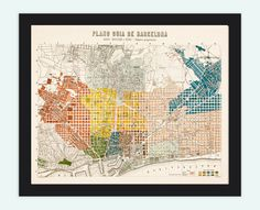 Old Map of Barcelona, Spain Cataluña 1910 Vintage map Barcelona. $29.00, via Etsy.