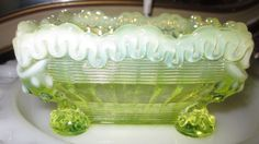 3 EAPG 1897 Northwood Alaska Opalescent Vaseline Square ICE CREAM Bowls  #Northwood