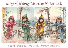 Victorian Winter Girls Large Tags