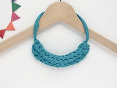 Teal necklace Teal T-shirt yarn necklace Knot necklace