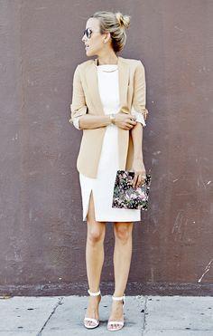 Business chic: Phillip Lim tan blazer, Keepsake white Dress, Givenchy floral pouch #StreetStyle