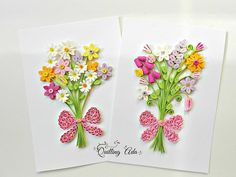 Personalised card-Quilling flowers card  Anniversary card