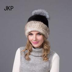 93.98$  Buy now - http://ali3el.worldwells.pw/go.php?t=32693201624 - Russia Women Real Mink Fur Hat With Fox Fur Pom Pom Top Winter Knitted Mink Fur Beanies