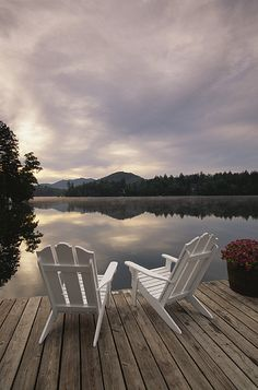 Inspo for Lake House Collection - Pair of Adirondack Chairs on a Dock at the Mirror Lake Inn Photographic Print by Michael Melford