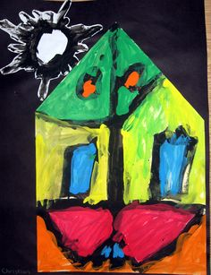 """African Painted Houses    We began this lesson by reading Maya Angelou's book """"My Painted House, My Friendly Chicken, and Me"""" based on the Ndebele Tribe in Africa. We then discussed symmetry and color mixing which led us to create our own African painted houses just like in the book!"""