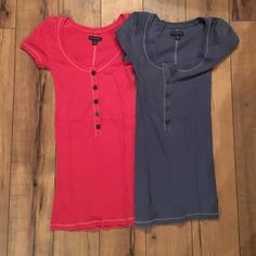 Red & Blue Button Tees Gentle use. American Eagle Outfitters Tops Tees - Short Sleeve