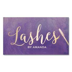 Lashes Makeup Artist Gold Script Elegant Purple Business Card