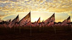 The sun rises over a special tribute to United States military veterans in Lubbock, Texas.