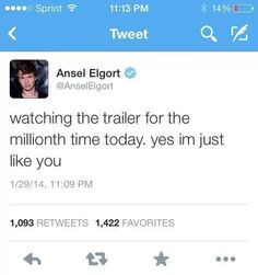 Glad I'm not the only one who is unhealthily OBSESSED with watching the TFIOS trailer... #anselelgort aka Augustus Waters