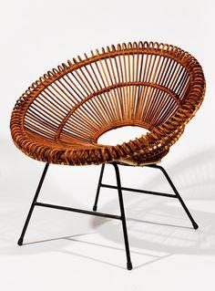poltrona '50 (metallo verniciato, vimini) Franco Albini (Robbiate 1905 - Milano 1977)