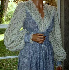 Gunne Sax Dress Prairie Boho Style Calico and Vintage by artemis53