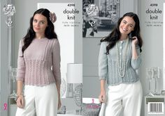 King Cole 4398 Knitting Pattern Ladies Cardigan and Sweater to knit in Glitz DK