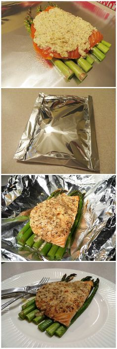 Garlic Parmesan Salmon Foil Pack. Looks like a good way to cook without adding too much oil.